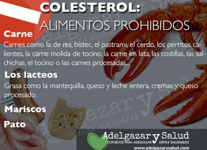 alimentos prohibidos colesterol